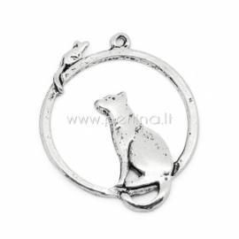 """Pakabukas """"Katė ir pelė"""", ant. sidabro sp., 31x26 mm"""