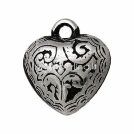 """CCB plastiko pakabukas """"Širdelė"""", ant. sidabro sp., 17x15 mm"""