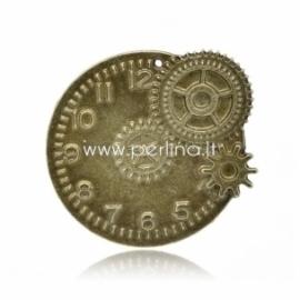"""Pakabukas """"Laikrodis"""", ant. bronzos sp., 49x44 mm"""