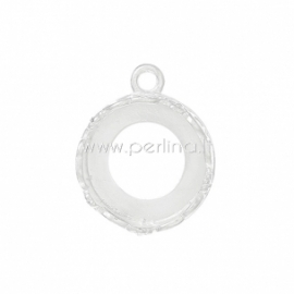 Cabochon setting pendant, silver plated, 18x14 mm