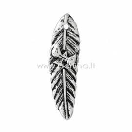 """Pakabukas """"Lapas su paukšteliu"""", ant. sidabro sp., 35x10 mm"""