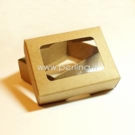 Kartoninė stačiakampė dėžutė su langeliu, 9x7x3 cm