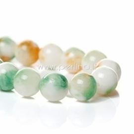 Marmurinis nefritas, balta-žalia-oranžinė, 12 mm