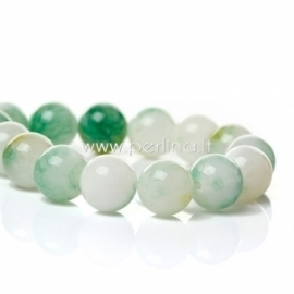 Marmurinis nefritas, balta-žalia, 12 mm
