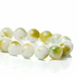 Marmurinis nefritas, balta-žalia, 8 mm