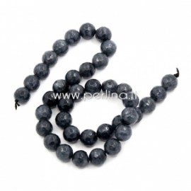 Dyed agate gemstone bead, gray, 10 mm, 1 pc