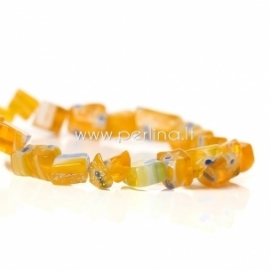 Millefiori stiklo karoliukai, netaisyklingi, geltonos sp., 9x7mm - 4x3mm, 76 cm