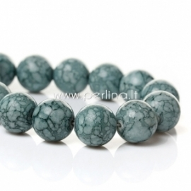 Synthetic turquoise bead, cyan mottled dyed, 14 mm, 1 pc