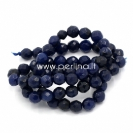 Synthetic agate gemstone bead, dark blue, 6 mm, 1 pc