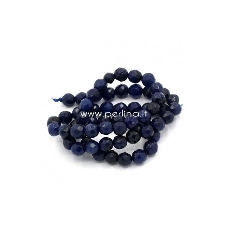 Sintetinis agatas, briaunuotas, tamsiai mėlynos sp., 6 mm, 1 vnt