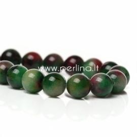 Mashan žadeitas, žalios-raudonos sp., 8 mm