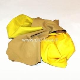 Natūralios drabužinės odos atraižos, geltona sp., 150 g.