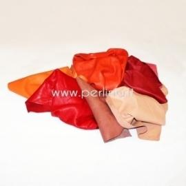 Natūralios drabužinės odos atraižos, oranžinė-raudona sp., 150 g.
