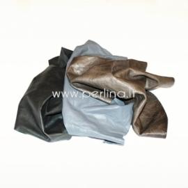 Natūralios drabužinės odos atraižos, pilka sp., 150 g.