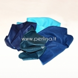 Natūralios drabužinės odos atraižos, mėlyna sp., 150 g.