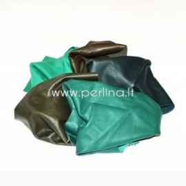 Natūralios drabužinės odos atraižos, žalia sp., 150 g.