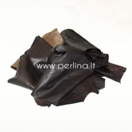 Natūralios drabužinės odos atraižos, tamsiai ruda sp., 150 g.