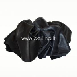 Natūralios drabužinės odos atraižos, juoda sp., 150 g.