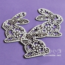 "Chipboard ""Easter - bunnies with ornament"", 3 pcs"