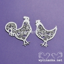 "Chipboard ""Lace Easter - Cock and chicken"", 2 pcs"