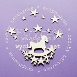 """Kartoninė detalė """"Vaikiškas arkliukas su žvaigždelėmis"""", 11 vnt."""
