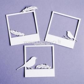 """Kartoninė detalė """"Auštant - rėmelis, paukštis su plunksnomis"""", 3 vnt."""