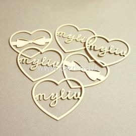 """Kartoninė detalė """"Meilės laiškai - širdelės"""", 6 vnt."""