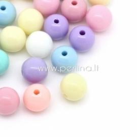 Akriliniai karoliukai, įvairios pastelinės sp., 6 mm, 20 vnt.