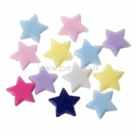 Akrilinis karoliukas - žvaigždutė, įvairių sp., 11x10-10x9 mm, 10 vnt.
