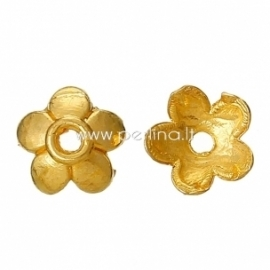 Bead cap, gold plated, 6x6 mm, 1 pc
