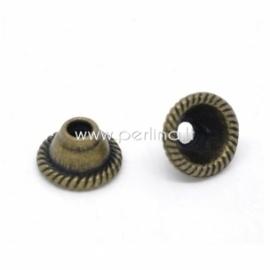 Bead cap, antique bronze, 8x5 mm, 1 pc