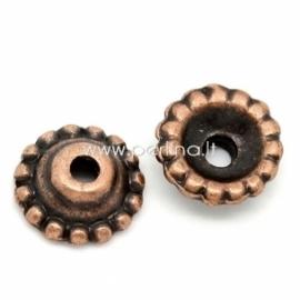 Bead cap, antique copper, 8x3 mm, 1 pc
