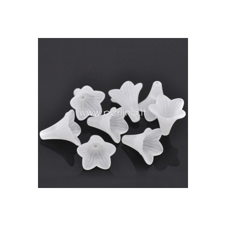 Akrilinis karoliukas - gėlytė, balta sp. su šerkšno efektu, 22x22 mm, 1 vnt.