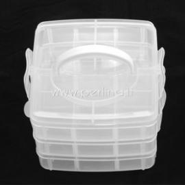 Dėžutė karoliukams 3-jų sluoksnių, plastikinė skaidri, 15,5x16x13 cm