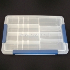 Dėžutė karoliukams, plastikinė skaidri, 27,5x18x4,3 cm