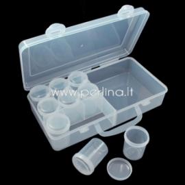 Dėžutė karoliukams, plastikinė skaidri, 25,8x13x6,2 cm