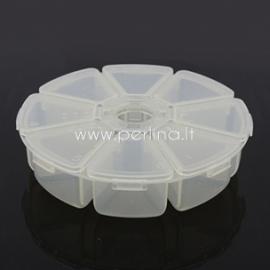 Dėžutė karoliukams, plastikinė skaidri, 10,5x10,5x2,8 cm