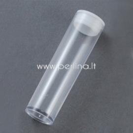Konteineris karoliukams, plastikinis skaidrus, 55x15 mm