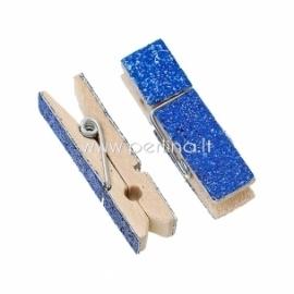 Medinis segtukas, mėlynas su blizgučiais, 4,5x1,4 cm, 1 vnt.