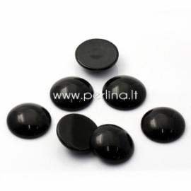 Synthetic black onyx cabochon, 24 mm