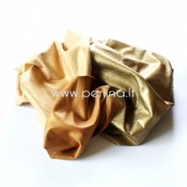 Natūralios drabužinės odos atraižos, aukso žvilganti sp., 150 g.