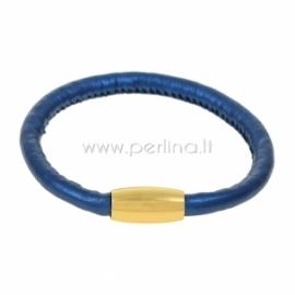 Dirbtinės odos apyrankė, tamsiai mėlynos sp., 22 cm, 1 vnt