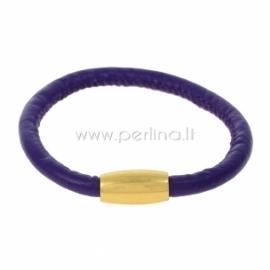 Dirbtinės odos apyrankė, violetinė sp., 22 cm, 1 vnt