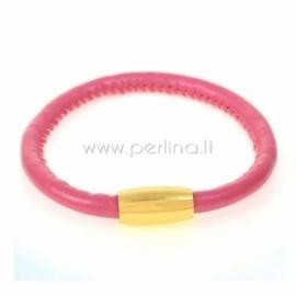 PU leather single bracelet, fuchsia, 22 cm, 1 pc