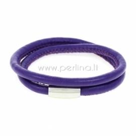 Dirbtinės odos apyrankė, dviguba, violetinės sp., 42 cm, 1 vnt