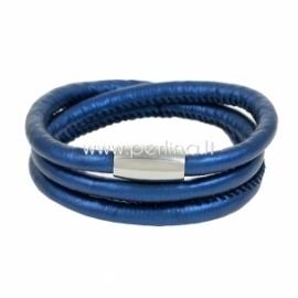 Dirbtinės odos apyrankė, triguba, tamsiai mėlynos sp., 61,5 cm, 1 vnt