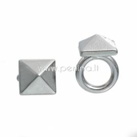 "Bracelet accessory ""Pyramid"", silver tone, 16x11 mm"