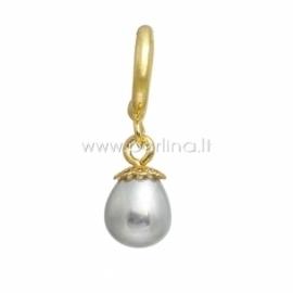 """Aksesuaras apyrankei """"Sidabrinis perlas"""", paauksuotas, 27x11 mm"""