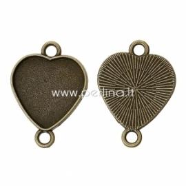 """Sujungimas """"Širdis"""", ant. bronzos sp., 30x22 mm"""