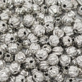 Intarpas - karoliukas gofruotas, sidabro sp., 3 mm, 1 vnt.
